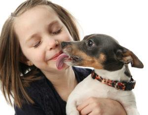 ребёнок с собакой